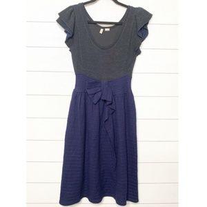 Anthro Moth Curtain Call Blue Grey Wool Dress